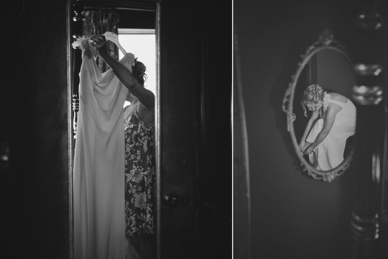 Newton Hall, black and white bride gets ready