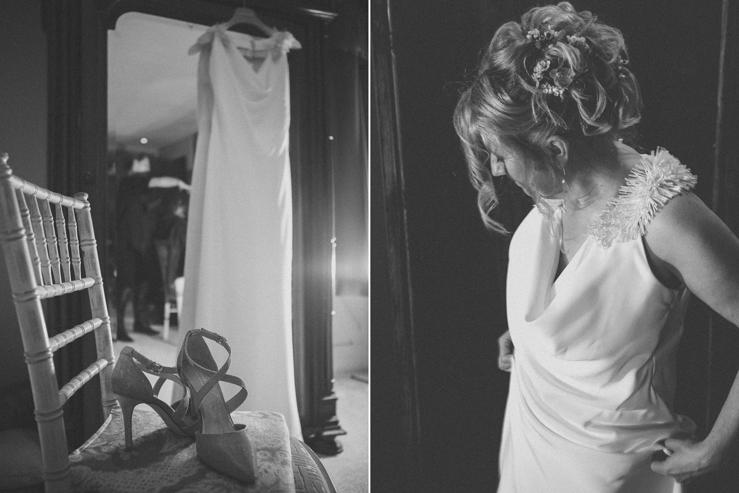 Newton Hall, wedding shoes and bride black and white
