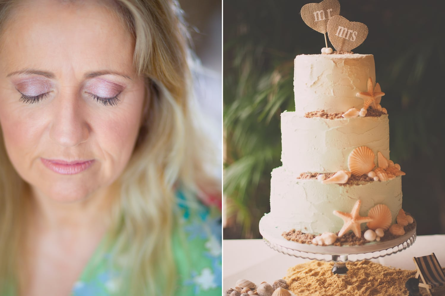 Newton Hall, seaside inspired wedding cake and bride collage