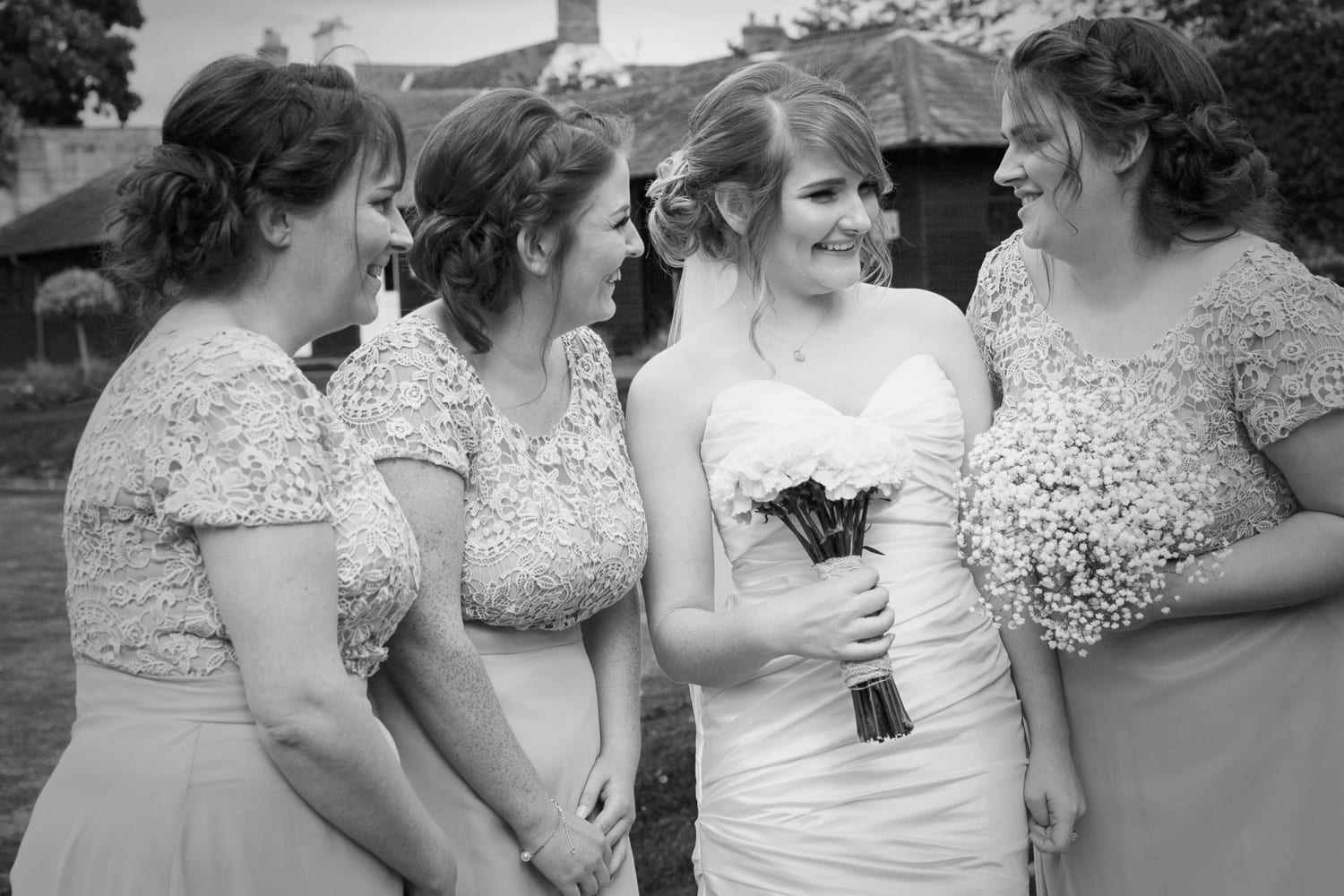 Hexham Abbey Wedding black and white bridesmaids