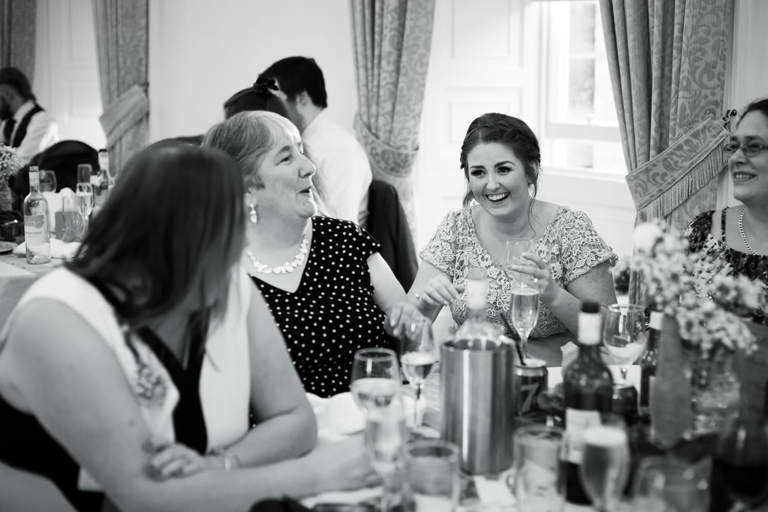 Hexham Abbey Wedding, laughing guest