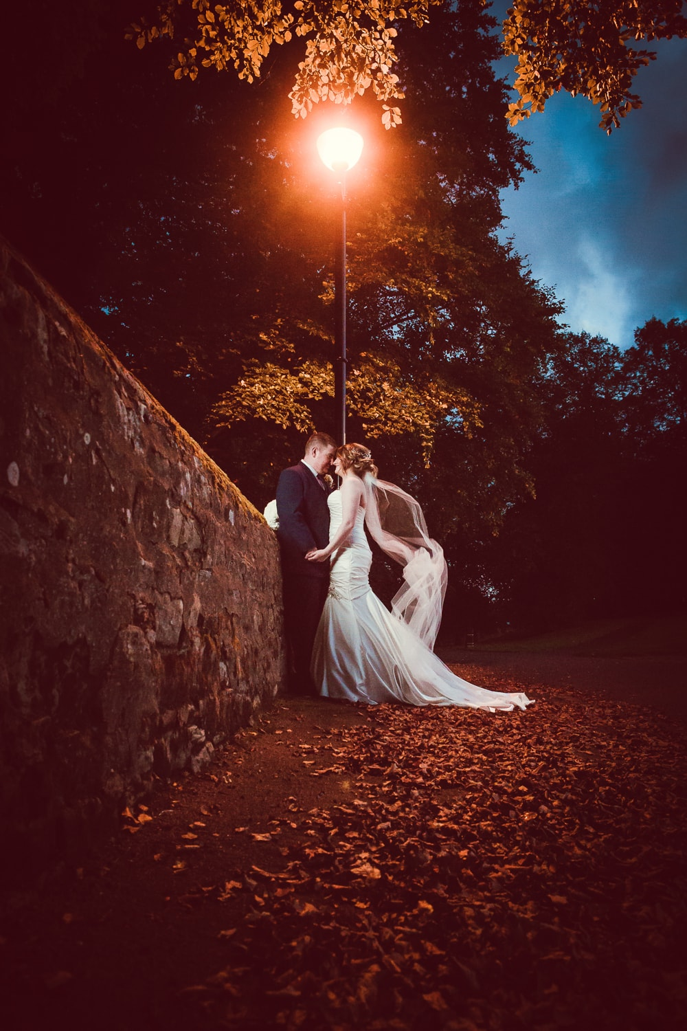 Hexham Abbey Wedding, lamppost at night