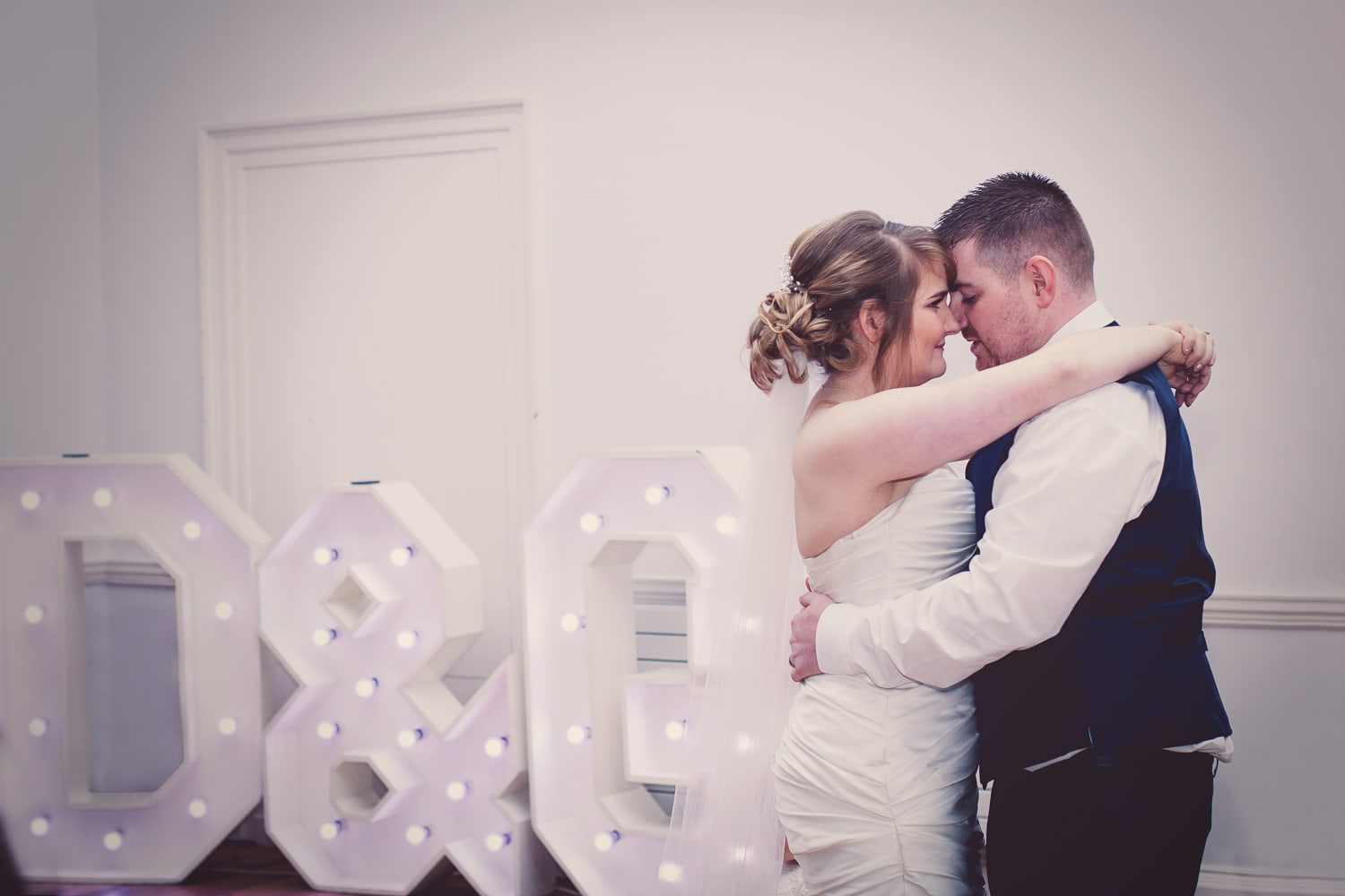 Hexham Abbey Wedding, first dance with letters