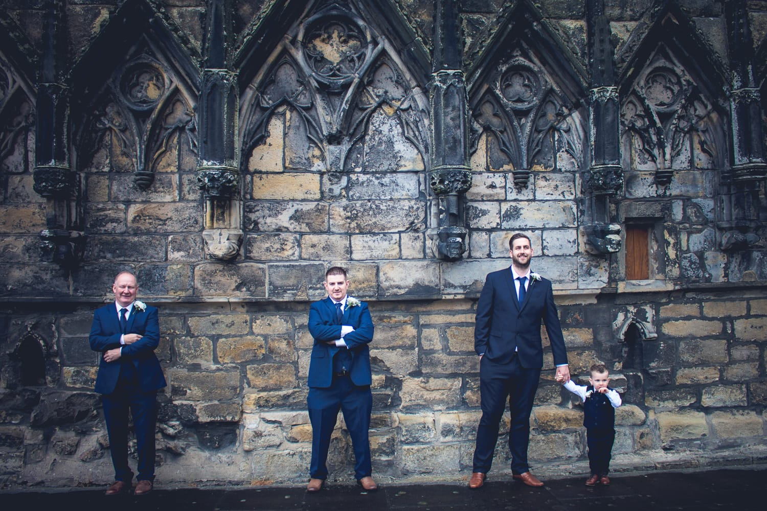 Hexham Abbey Wedding, groomsmen
