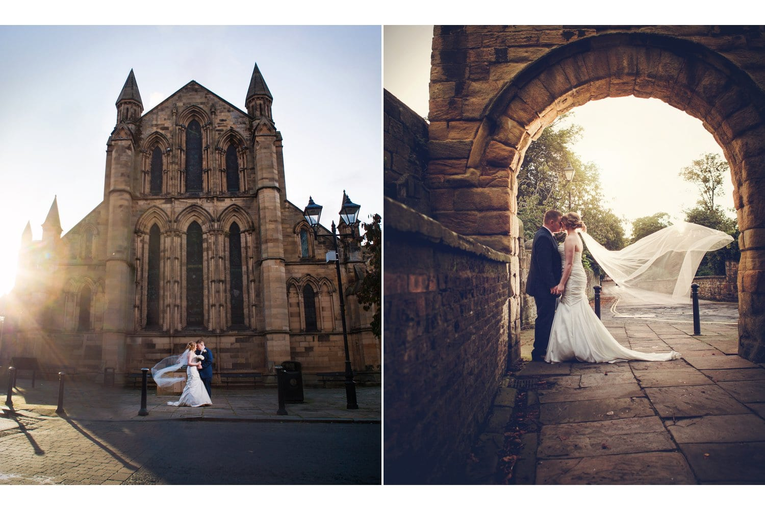 Hexham Abbey Wedding, veil in the wind