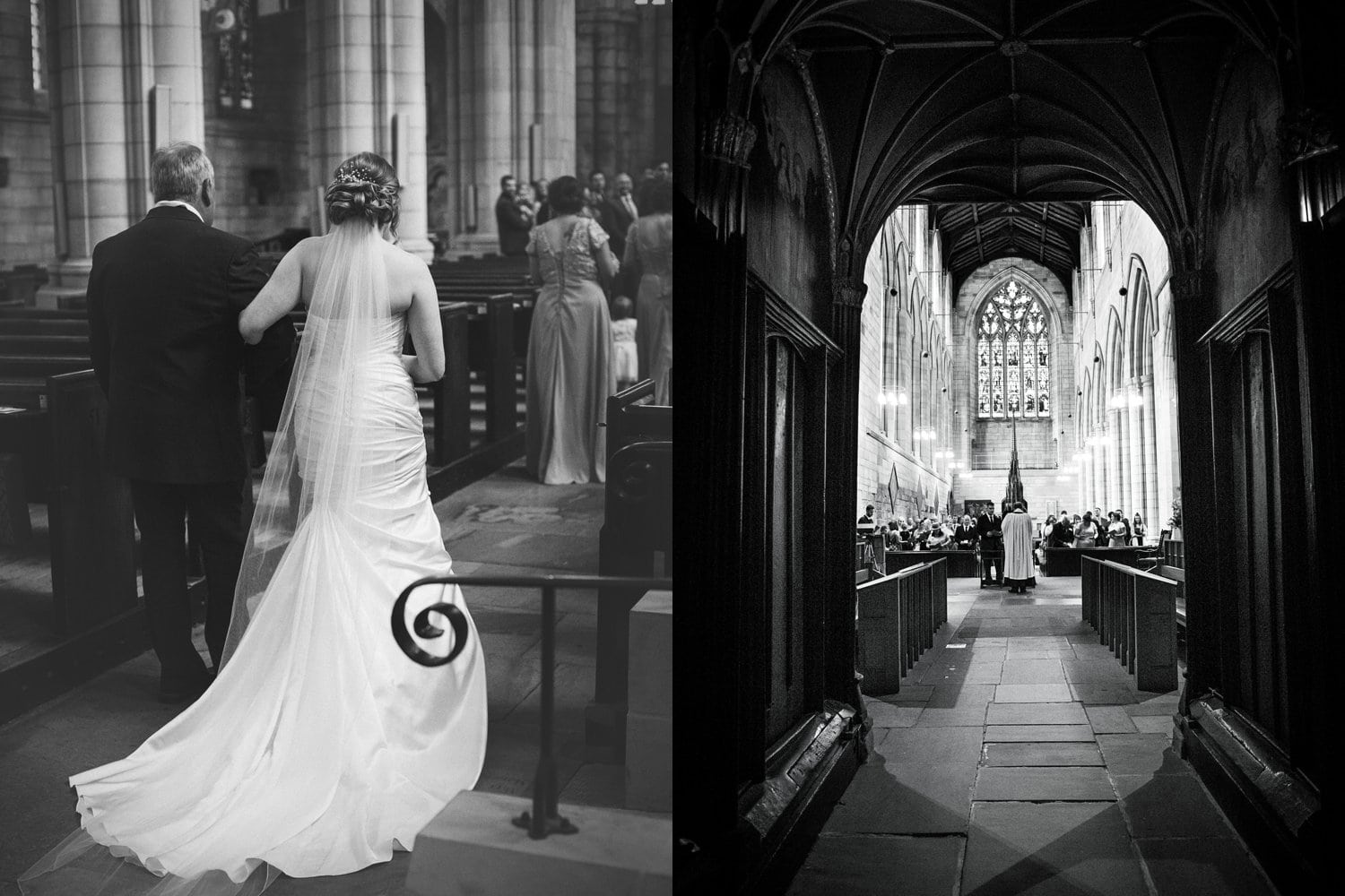Hexham Abbey Wedding, coming down the aisle
