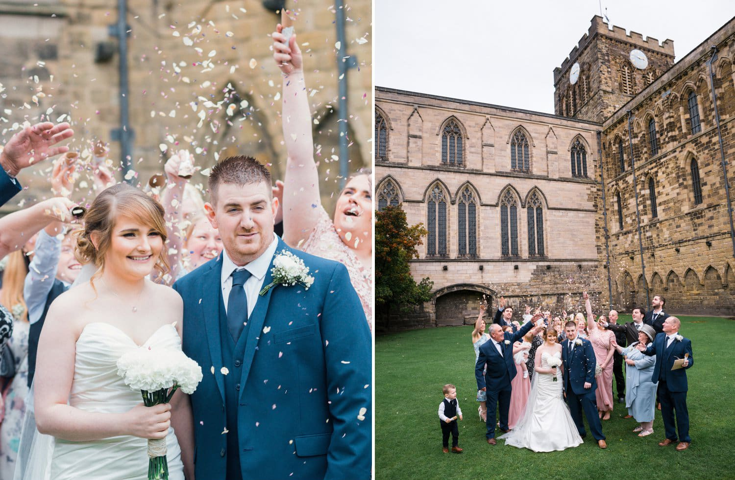 Hexham Abbey Wedding, confetti
