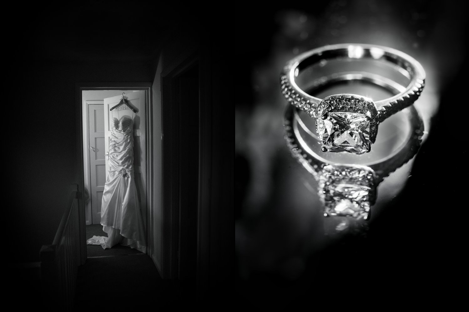 Hexham Abbey Wedding, wedding ring and dress