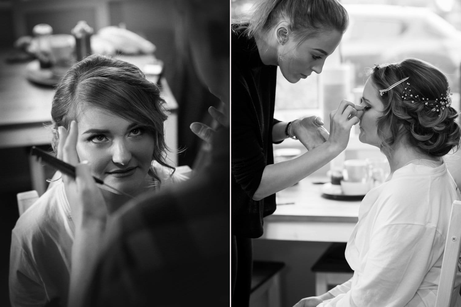 Hexham Abbey Wedding, wedding hair and makeup Black and white