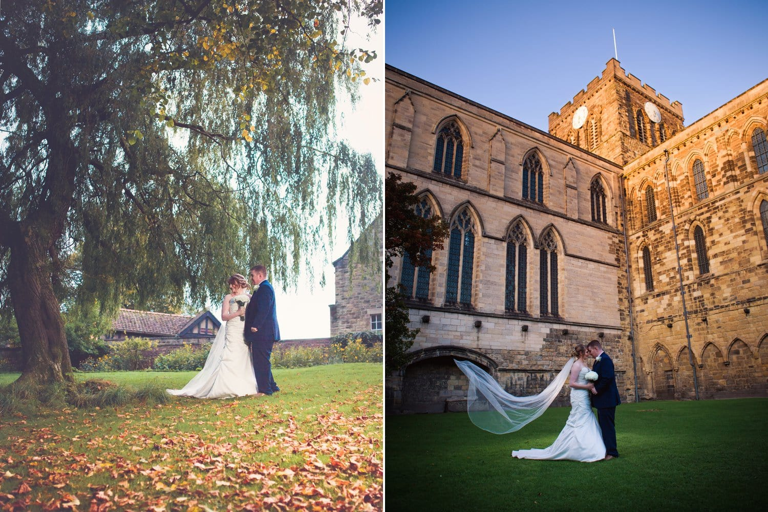 Hexham Abbey Wedding autumn light