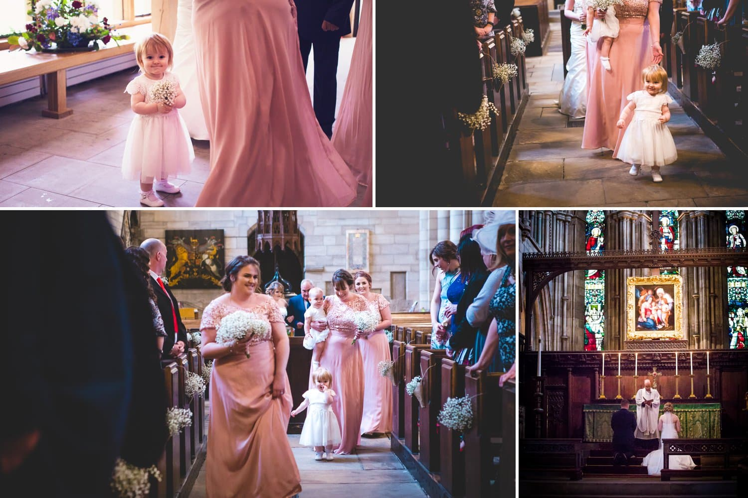 Hexham Abbey Wedding, walking down the aisle