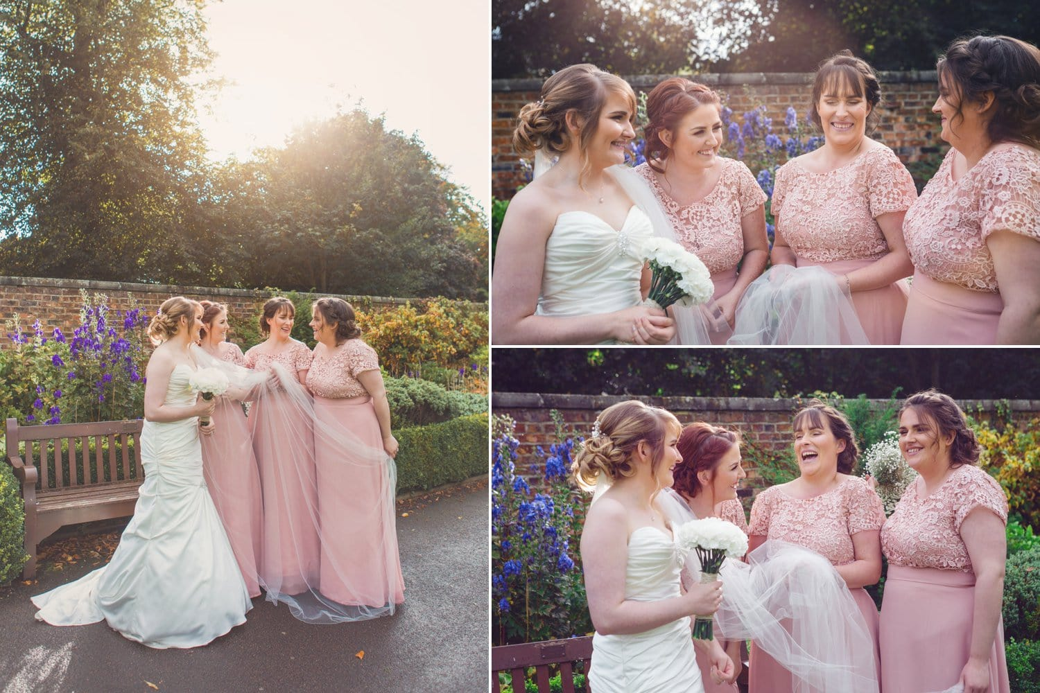 Hexham Abbey Wedding bridesmaids in pink