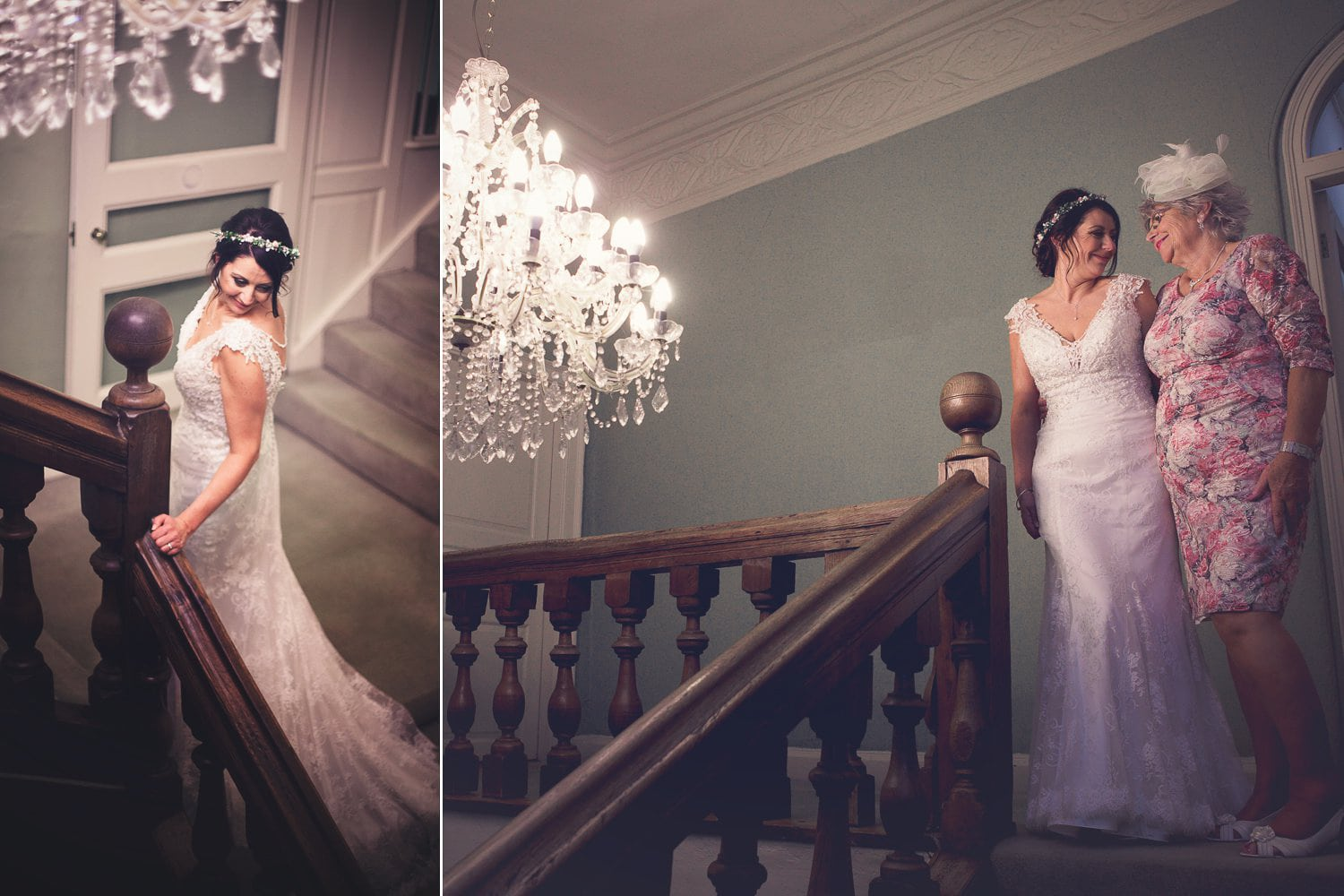 The Old Deanery Wedding, staircase bride