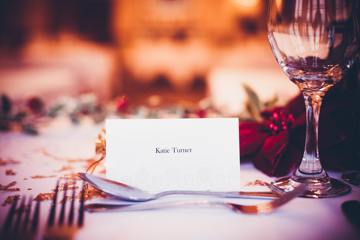 Matfen Hall, table decorations name tags