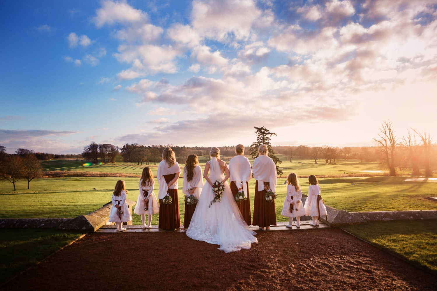 Matfen Hall, sunset with bridemaids