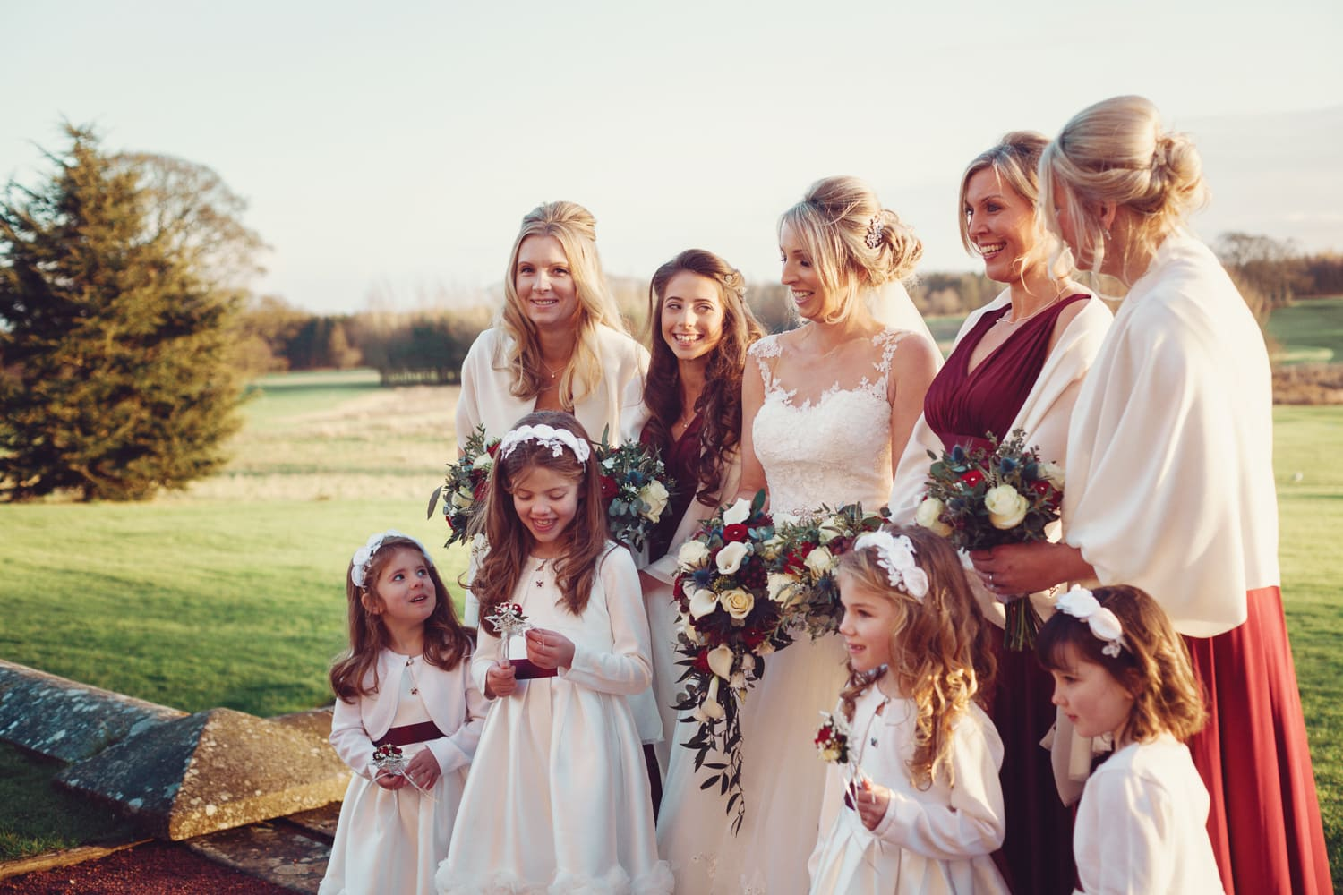Matfen Hall, soft light on bridesmaids