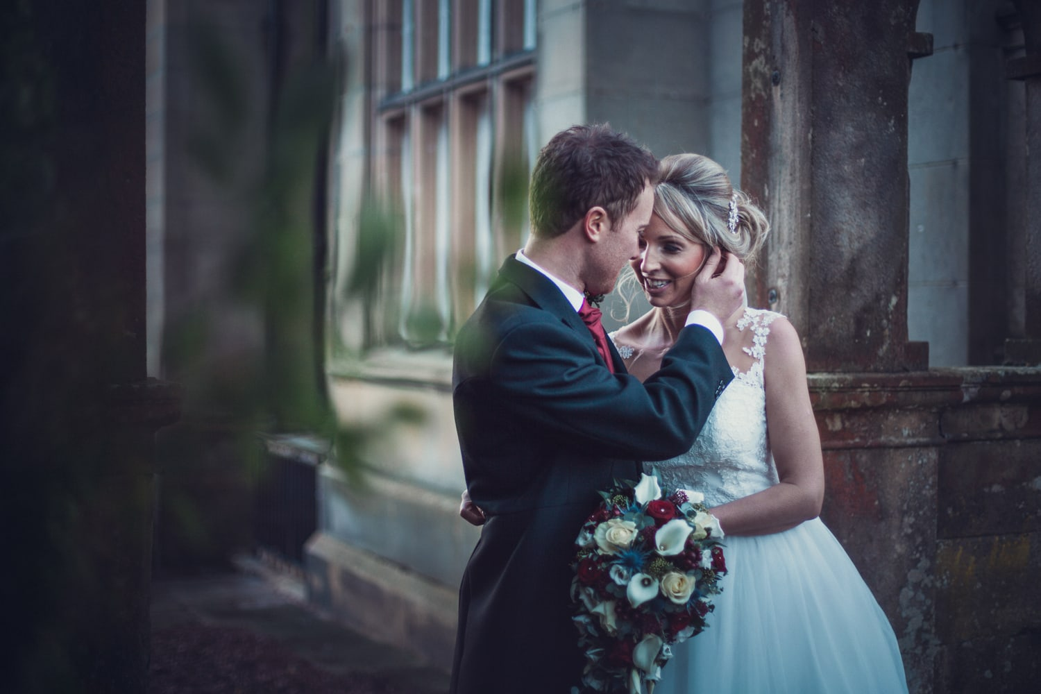 Matfen Hall, tender moment bride and groom