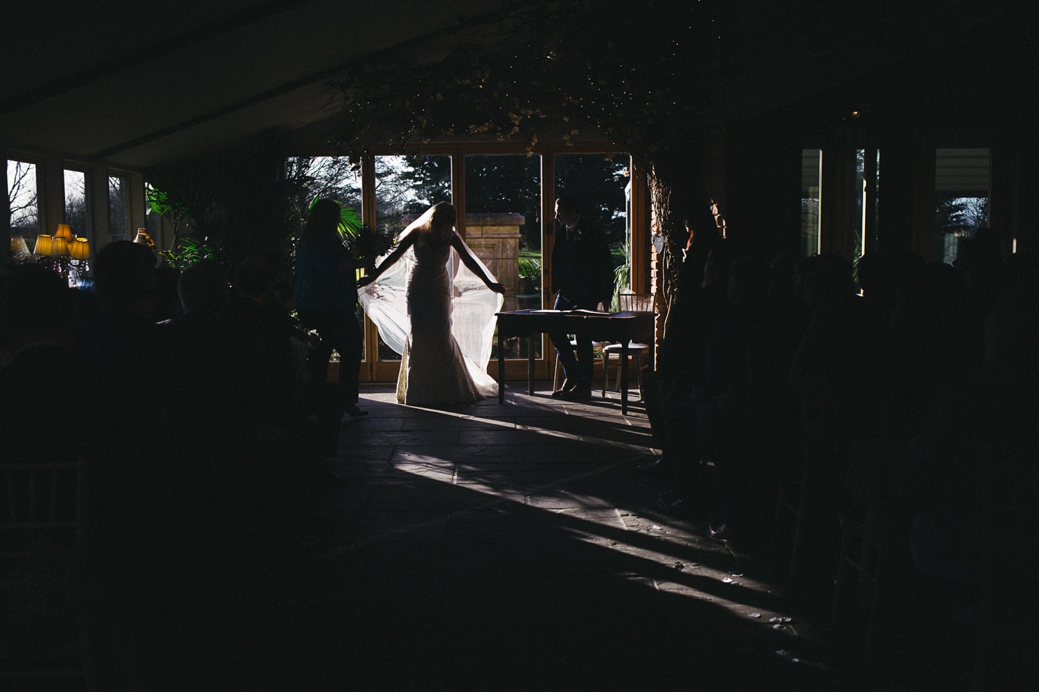 Newton Hall, back lit wedding dress