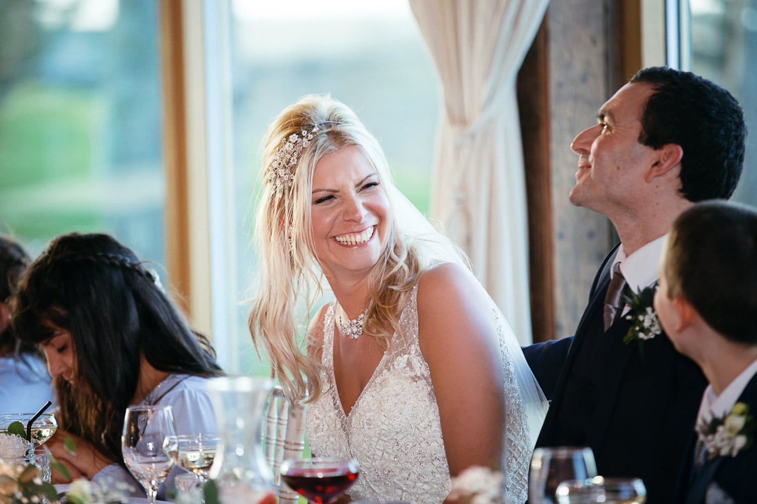 Newton Hall, laughing bride at speeches