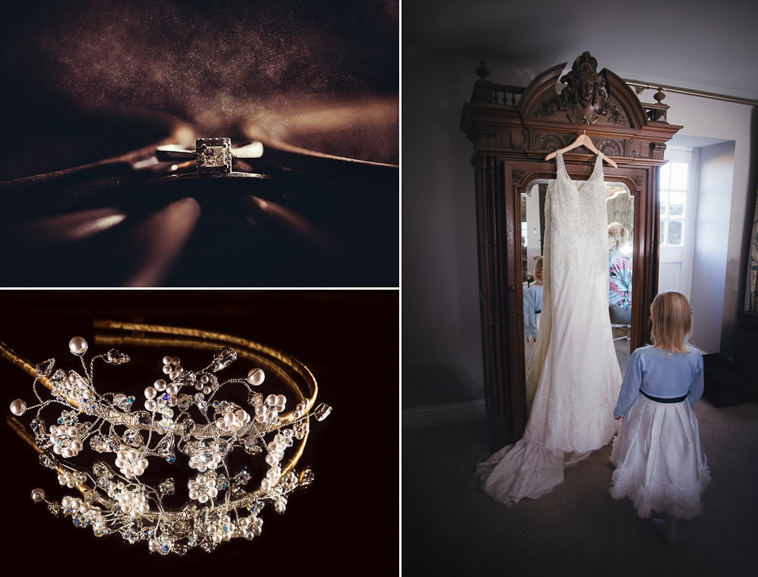 Newton Hall, wedding rings and wedding tiara