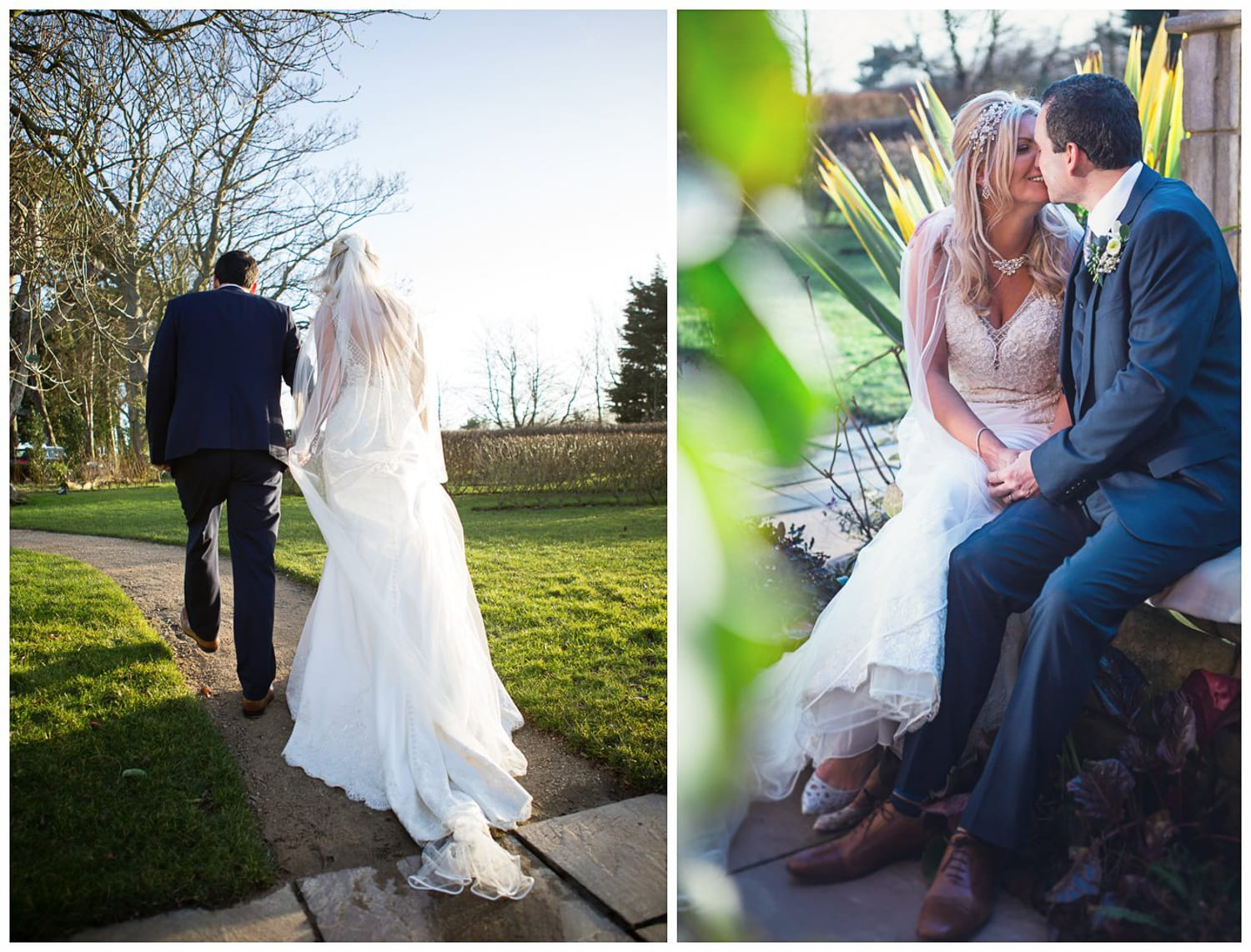 Newton Hall, bride and groom kiss collage