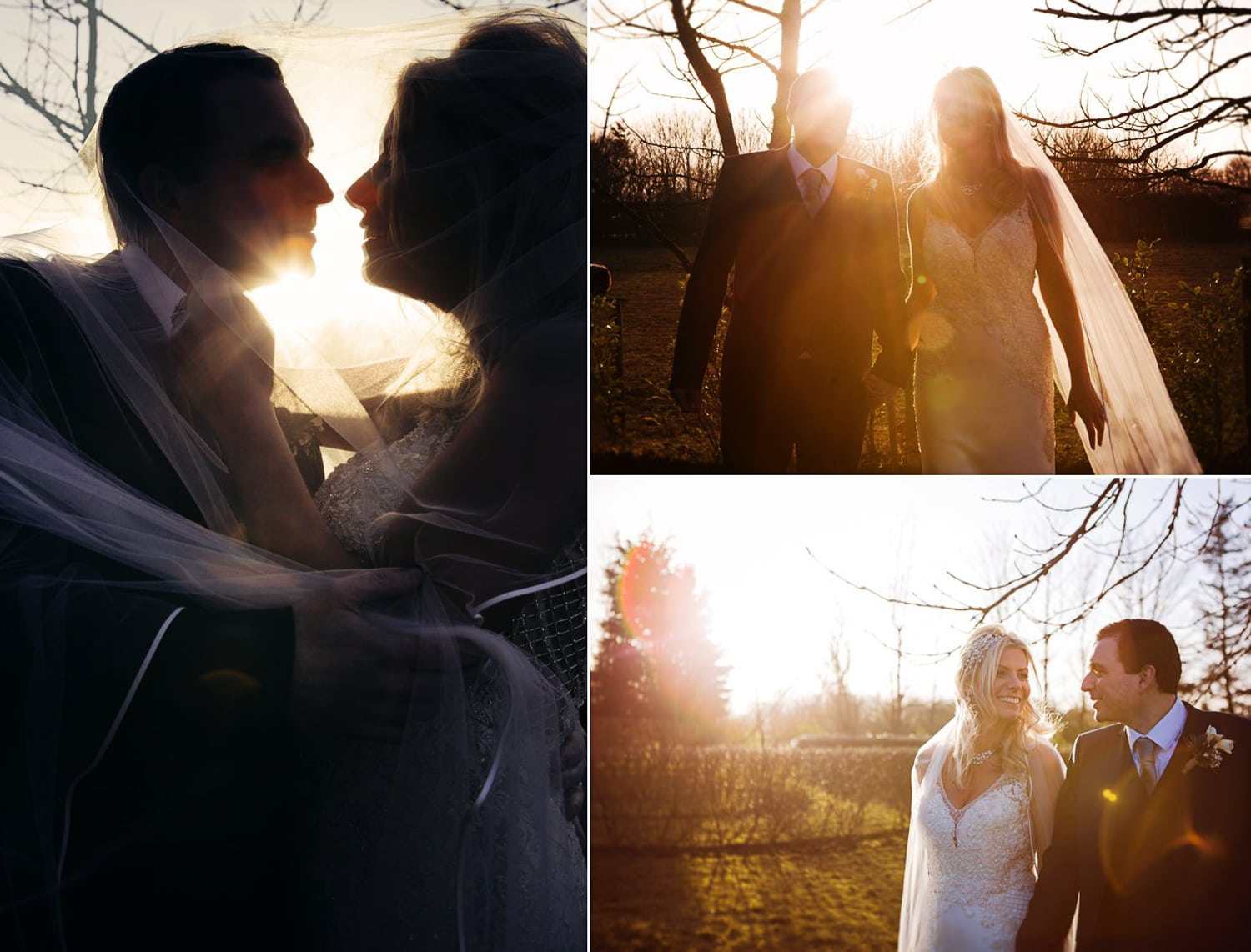 Newton Hall, sun flare bride and groom romance