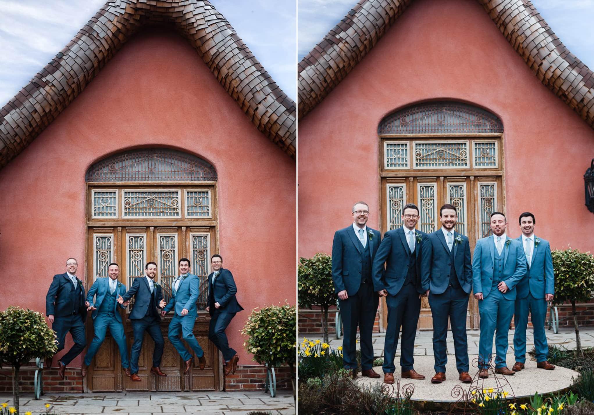 Le Petit Chateau, jumping groomsmen