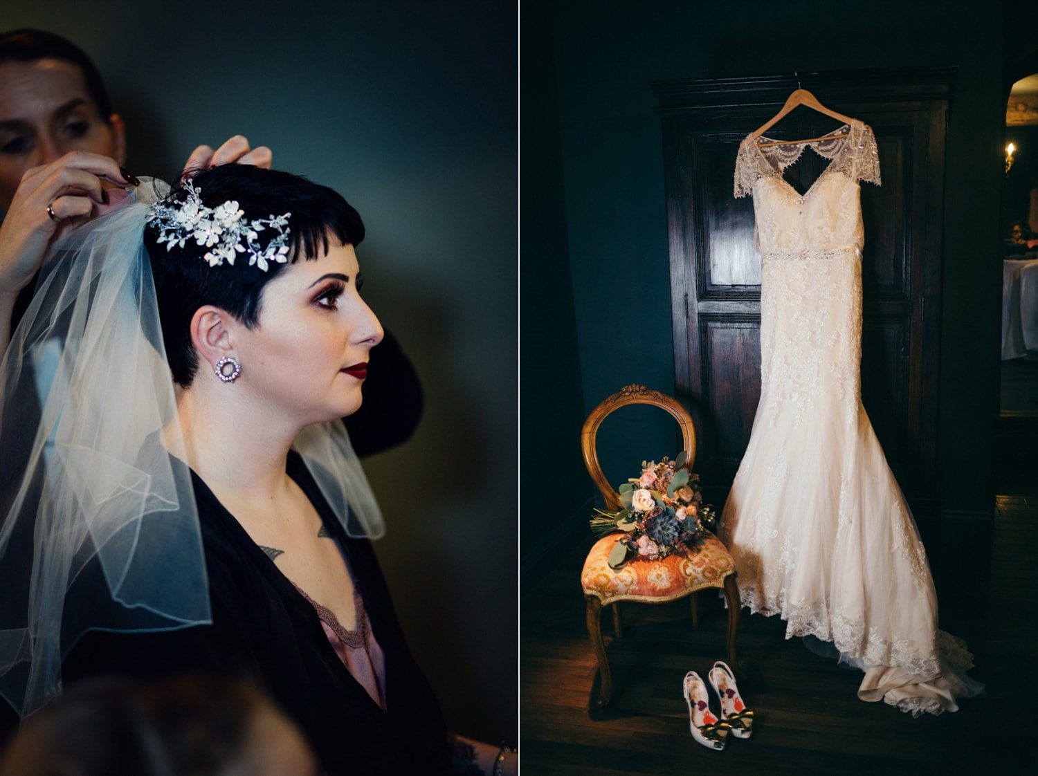 Le Petit Chateau, wedding dress and wedding head piece