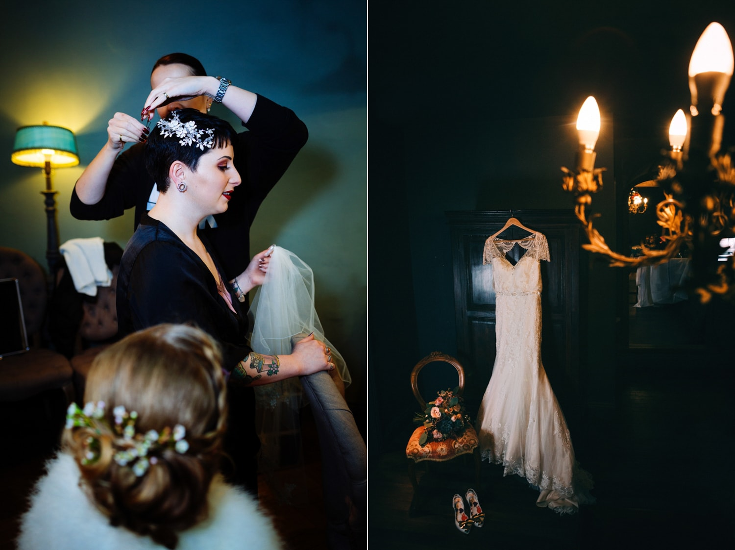 Le Petit Chateau,wedding dress and chandelier
